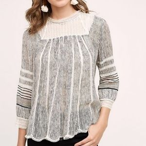 Anthro floreat reina stripped lace blouse